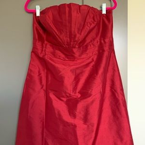 Strapless red party dress